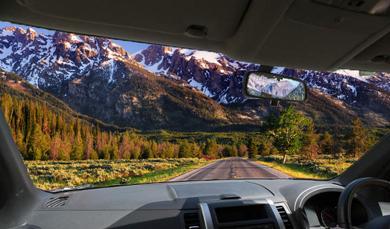Car view of road
